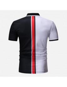 Men Muscle Fit Color Block Golf Shirt
