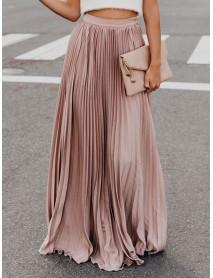 Boho Elastic Waist Pleated Pure Color Women Skirts