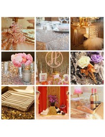 Home Rose Golden Sequins Table Runner Wedding Party Tablecloth Decorate