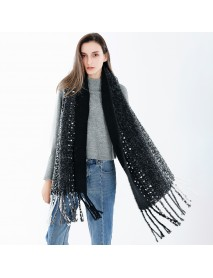 190*56 CM Women Winter Warm Vintage Artificial Cashmere Scarf with Tassel Long Shawl