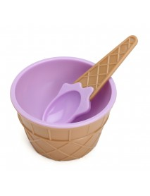 6PCS Children's Plastic Ice Cream Bowls Spoons Set Durable Ice Cream Cup Dessert Bowl