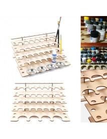 32 Pots Wooden Acrylic Paint Stand Bottle Storage Rack Holder Modular Organizer