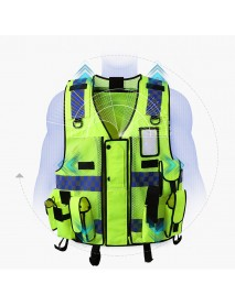 Mesh Breathable Fluorescent Yellow Safety Clothing Safety Adjustable Hi-Vis Safety Vest High Reflective Jacket Security Cloth and Pocket