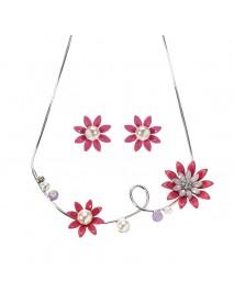 JASSY Elegant Pink Women Rhinestone Flower Pearl Earrings Necklace Jewelry Set