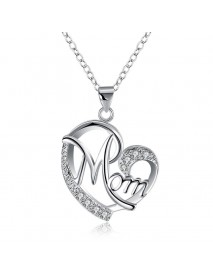Classic Sweet Mom In Heart Necklace Dazzling Zirconia Pendant Women Necklaces Best Gift for Mom