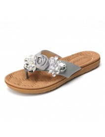 Lostisy Women Beach Flowers Rhinestone Clip Toe Slippers