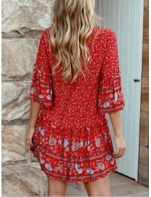 Bohemian Floral Print V Neck Summer Beach Mini Dress