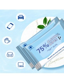 10Pcs/Bag Portable Household Disposable Alcohol Wet Wipes Antiseptic Cleaning Sterilization Paper for Healthcare