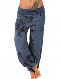 Butterfly Print Loose Casual Women Yoga Pants