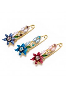 Elegant Lily Flower Brooch Pin Costume Jewelry Clothes Accessories Rhinestone Brooches