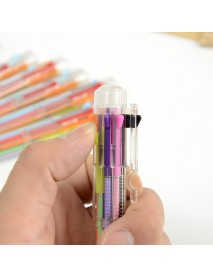 1 x Multicolor Ballpoint Pen Multifunction 8 In 1 Colorful Pressed Ballpoint Pen 0.5mm School Supply