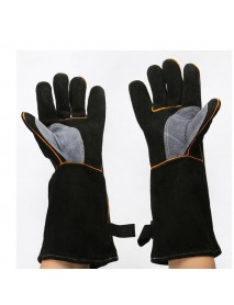 2Pcs Heavy Duty Wood Burner Welding Gloves Heat Resistant PU Leather Stoves Barbecue Work Gloves