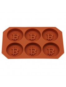 6 Grids Bitcoin Design Silicone Ice Cube Tray DIY Chocolate Cookies Biscuit Baking Ice Mold Maker