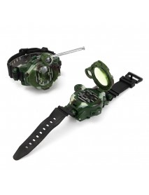 2pcs 7 In 1 Children Two Way Radio Walkie Talkie Kids Camouflage Wrist Watch