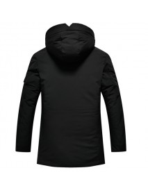 Mens Multi-pocket Mid-long Thick Warm Hooded Pure Color Jacket  Casual Coat