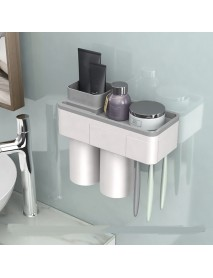 2 Cups Magnetic Toothbrush Holder Wall Mounted Bathroom Organizer Storage Rack
