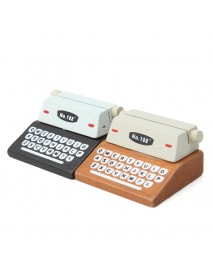 1Pcs Mini Retro Typewriter Desktop Figurines Wooden Message Note Clip Pictures Photo Holder