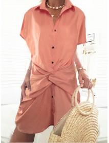 Casual Loose Front Cross Short Sleeve Lapel Shirt Dress