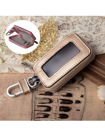 Genuine Leather Car Key Holder Hanging Portable Keychain Covers Pouch Purse Key Bag