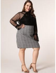 Plus Size British Style Lattice High Waist Daily Casual Skirts