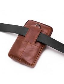 5-6.5 Inches Cellphone Genuine Leather Retro Waist Bag