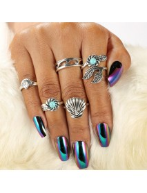 5Pcs Bohemian Cocktail Ring Set Vintage Shell Hollow Flower Palm Leaf Turquoise Rings for Women