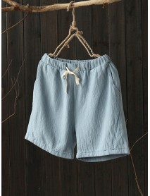 Women Casual Cotton Linen Plain Elastic Waist Shorts