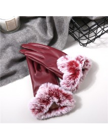 Women Cold Winter Warm Thick Rabbit Fur PU Leather Texting Screen Waterproof Windproof Ski Gloves