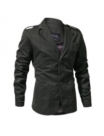 Epaulet Military Single Breasted Spring Autumn Cotton Casual Blazer Jacket for Men