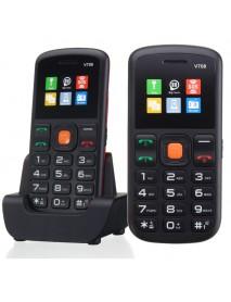 (English Russian Spanish Italian Language) UNIWA V708 1.77 Inch 800mAh Charging Stand Mobile Phone