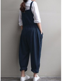 Casaul Women Pure Color Strap Pocket Drawstring Harem Jumpsuit