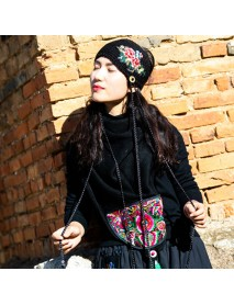 Embroidered Printed Hat Floral Knitted Heandband