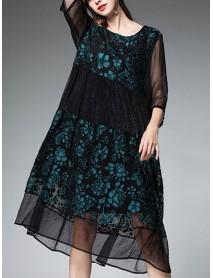 Plus Size Floral Chiffon Patchwork Half Sleeve Women Dress