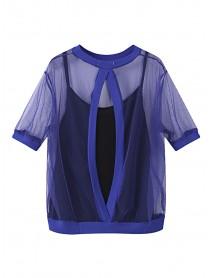 Sexy Women Sling Gauze Blouse Two Piece O-Neck Loose Thin T-Shirt