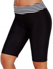 Women's Black Long-Length Striped Boxer Swimwear Trunks