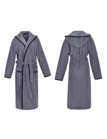 Flannel Long Sleeve Hoodie Textured Bathrobe Nightgown