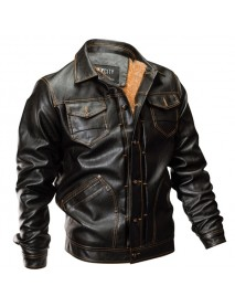 Fleece Warm Thick Winter Faux Leather Jacket Multi Pockets PU Motorcycle Jackets for Men