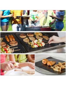 12Pcs BBQ Grill Mat Miracle Non Stick Barbecue Teflon Fiber Reusable BBQ Mat with 2 Brush