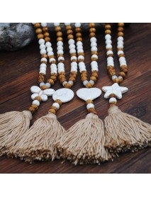 Ethnic Geometric Pendant Long Necklace Tassels Handmade String Beads Long Necklace Bohemian Jewelry