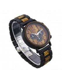 BOBO BIRD Men Metal and Wooden Case Auto Date Male Sport Fashion Quartz Watch