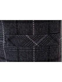 Casual Business Slim Fit Plaid Suit Collar Vest Pure Color Waistcoats For Men