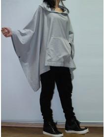 Casual Loose Pullover Tops Pocket Asymmetric Women Hooded Sweatshirts