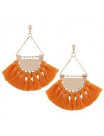 Bohemia Women's Alloy Earrings Four Colors Retro Sector Tassel Earrings