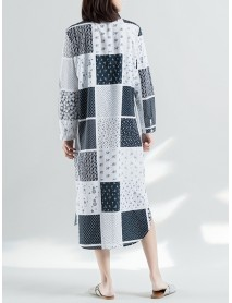 Ethnic Style Patchwork Long Sleeve Women Shirt Dress