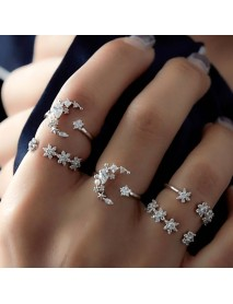 5Pcs Fashion Ring Sets Bohemian Finger Ring Simple Moon Star Rhinestones Knuckle Rings for Women