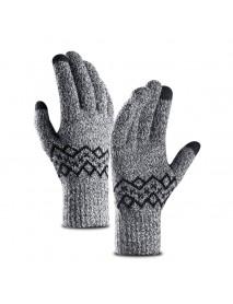 Men Warm Thick Knit Touch Screen Gloves Outdoor Sport Work Gloves