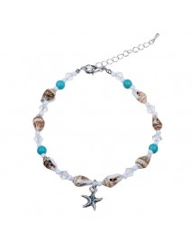 Bohemian Starfish Anklet Natural Stone Beaded Chain Barefoot Sandals Beach Foot Jewelry for Women