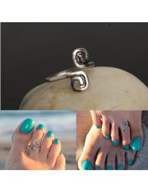 Vintage Bohemian Toe Rings Female Antique Silver Opening Foot Ring for Women