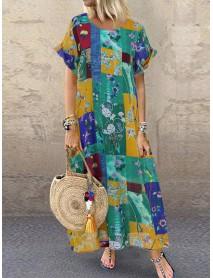 Bohemian Floral Print Short Sleeve Summer Maxi Dress