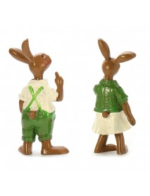 2pcs Green Rabbit Bunny Figurine Statue Resin Spring Easter Home Decorations Gift